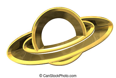 Saturn platet symbol in gold - 3d made -