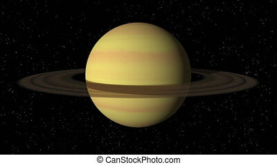 Saturn Rotating Seamless Loop - 3D animation of planet...