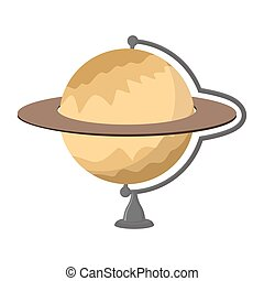 Saturn School globe. Planet geographical sphere. Model of  planet Saturns rings. Astronomical objects or celestial body