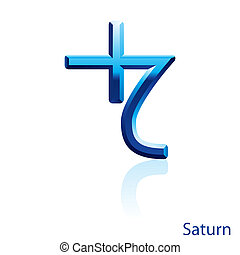 Saturn sign. - Shiny blue Saturn sign on white background.