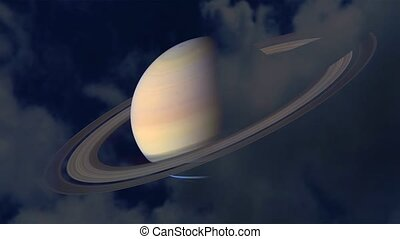 Saturn slow move pass back silhouette cloud on the night dark blue sky time lapse