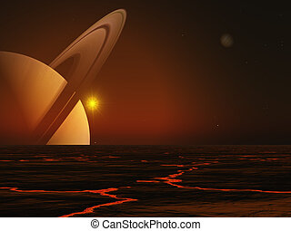 Saturn - This image shows a 3d generated, clear view from...