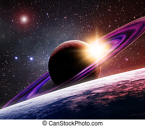Saturn with its moon - Large gas planet with rings and a...