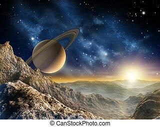 saturne, lune