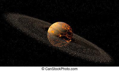 saturno, como, planeta, modelo