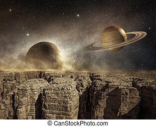 saturno, y, luna, en, el, cielo, de, un, terreno estéril