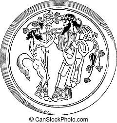 Satyr and Dionysus vintage engraving