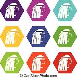 satz, ägypter, farbe, hexahedron, m�dchen, ikone