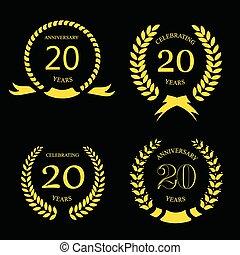 satz, 20, gold, zwanzig, kranz, -, jubiläum, jahre, lorbeer