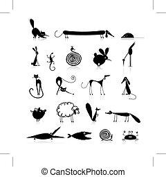 satz, 20, tiere, design, silhouette, dein, schwarz
