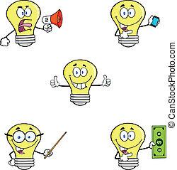 satz, 9, zwiebel, licht, sammlung, gelber