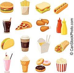 satz, abbildung, eps10, freigestellt, schnell, essen., vektor, white., karikatur