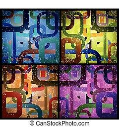 satz, abstrakt, grunge, quadrat, hintergrund., vektor