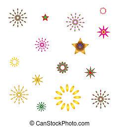 satz, abstrakt, kugelförmig, leuchtend, gold, sternen