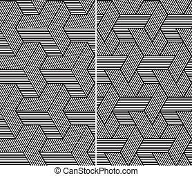 satz, abstrakt, patterns., zwei, seamless, elemente, b&w