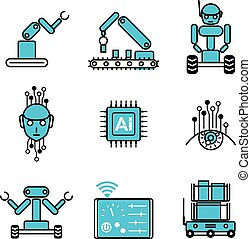 satz, ai, system, abbildung, roboter, vektor, design, automatisiert, ikone