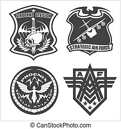 satz, airforce, etiketten, -, fleck, kräfte, militaer, logo,...