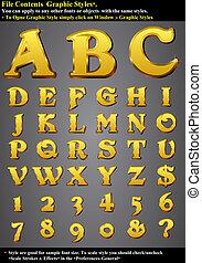 satz, alphabet, prägen, gold