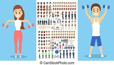 satz, ansichten, zeichen, sportler, animation, verschieden