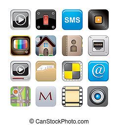 satz, apps, ikone, eins