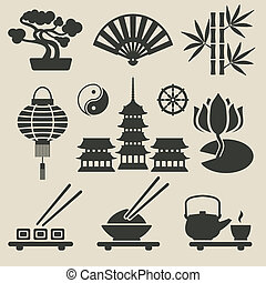 satz, asiatisch, heiligenbilder