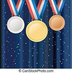 satz, aus, abbildung, vektor, hintergrund, confetti., vorhang, bänder, medaillen