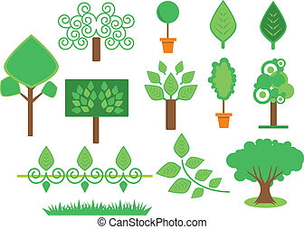 satz, bäume, und, vegetation