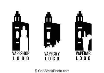 satz, bar, shop., vape, briefmarke, dein, badge., logo, vaping, oder, emblem