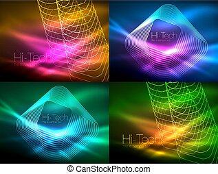 satz, begriff, linien, energie, neon, welle, glühen, hintergruende, strömend