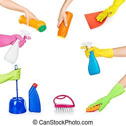 satz, besitz, haushalt, freigestellt, chemikalien, putzen, ...