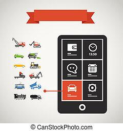 satz, beweglich, modern, telefon, silhouetten, transport