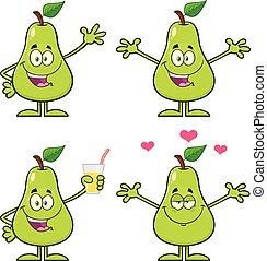 satz, blatt, zeichen, birne, sammlung, fruechte, vektor, grün, 3., karikatur, maskottchen