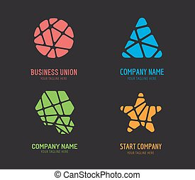 satz, brandmarken, abstrakt, vektor, design, schablone, logo