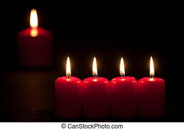satz, brennender, Kerzen, Fokus, dunkel, wahlweise, rotes