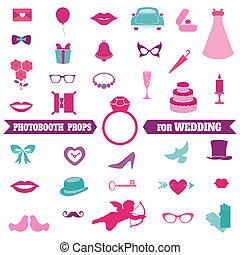 satz, brille, stützen, -, vektor, schnurrbärte, photobooth, hochzeitsgesellschaft, hüte, elemente