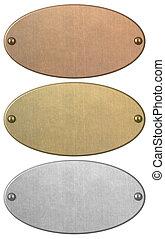 satz, bronze, silber, included, freigestellt, gold, ausschnitt weg, platten, metall