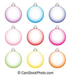 satz, bunte, baum, zurück, glas, kugeln, weißes, gemacht, weihnachten