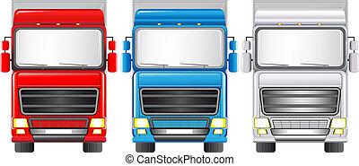 satz, bunte, lastwagen