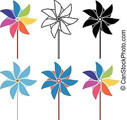 satz, bunte, vektor, schwarz, weißes, pinwheel
