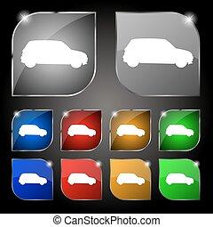 satz, bunte, zehn, jeep, zeichen., glare., tasten, vektor, ikone