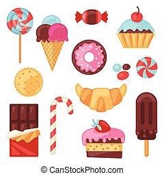satz, bunte, zuckerl, süßigkeiten, verschieden, cakes.