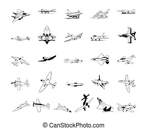 satz, clipart., sammlung, vektor, illustration.., motorflugzeug
