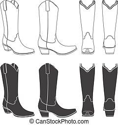 satz, cowboy, boots., freigestellt, vektor, schwarz, illustrationen, weißes, objects.