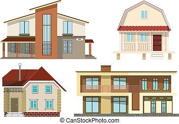 satz, cozy, häusser, abbildung, hintergrund., vektor, klein, ländlich, weißes, karikatur