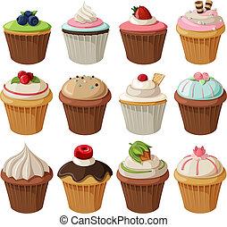 satz, cupcakes, köstlich
