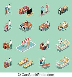 satz, daheim, isometrisch, krankenpflege