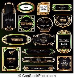satz, dekorativ, schwarz, goldenes, rahmen, labels., vektor