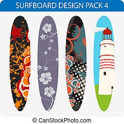 satz, design, 4, surfbrett