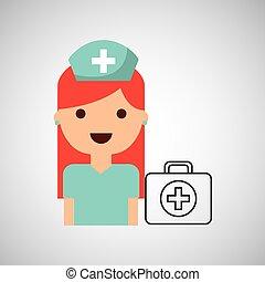 satz, design, hilfe, krankenschwester, karikatur, zuerst