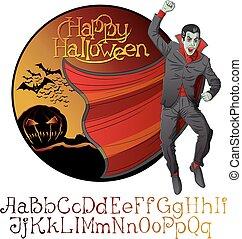 satz, drakula, halloween, vampir, vektor, schriftart